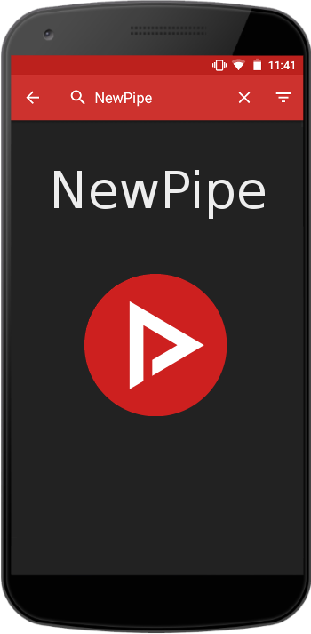 phone with NewPipe logo
